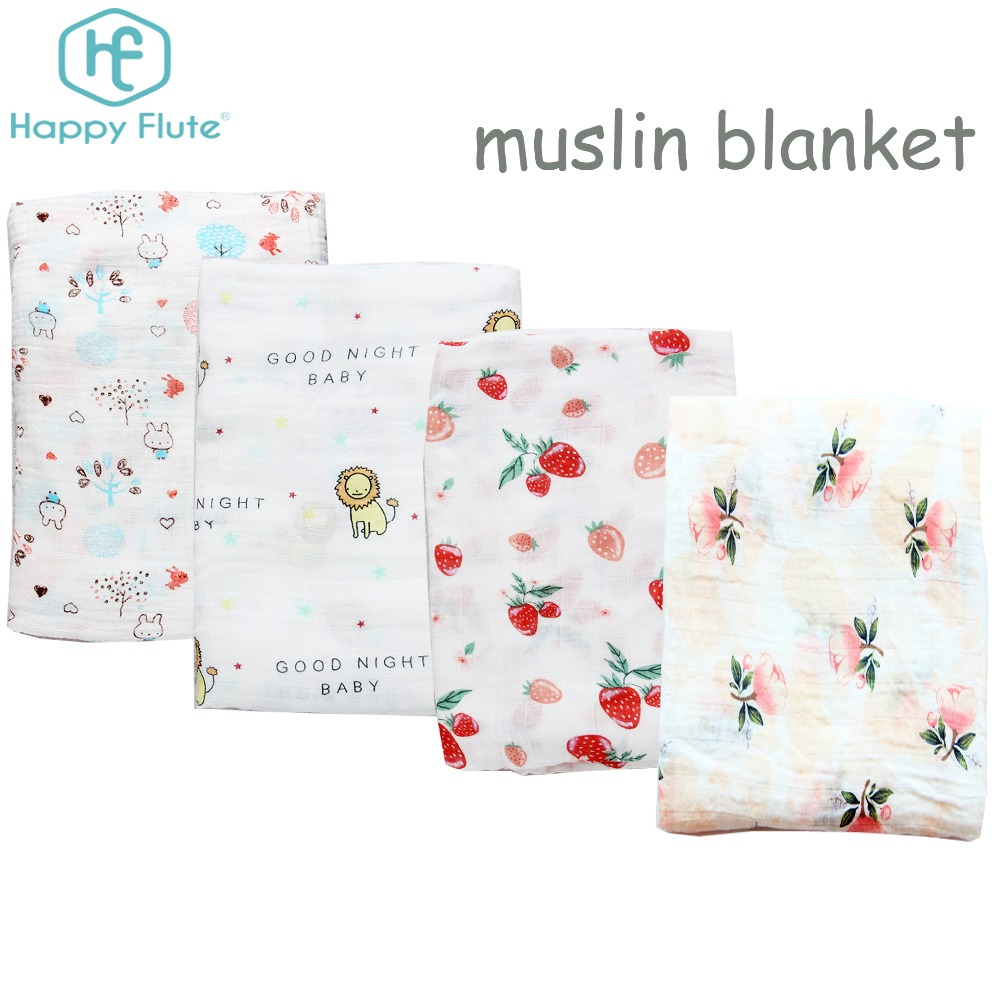 Newborn baby two layers Cotton muslin wrap blanket baby muslin swaddle