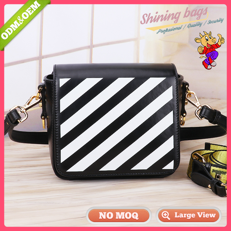 <strong>Black</strong> And White Stripe Fabric Cute Sling Genuine Leather Shoulder Bag Women With Long Handles