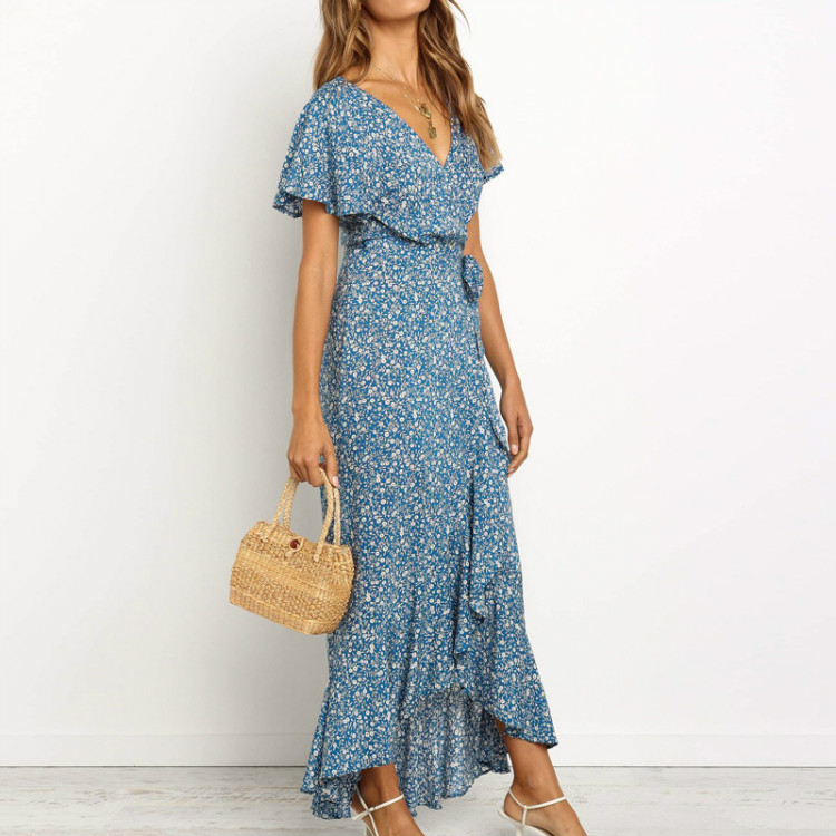 Alibaba.com / Women's floral print v-neck short bell sleeve ruffle wrap tie long maxi dresses