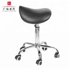 Hot Selling adjustable salon black leatherette saddle stool Barber good quality folding Chair with Best Price