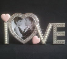 "jewelled LOVE picture frame hold 3""x3"" photo for valentine"