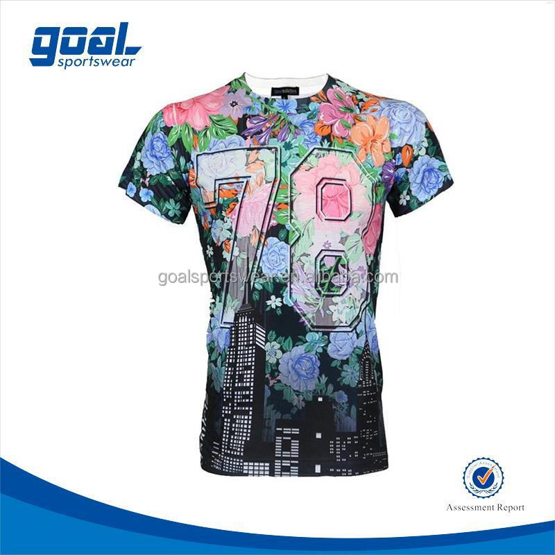 Dri fit sublimation printing high quality men polyester spandex t-shirts