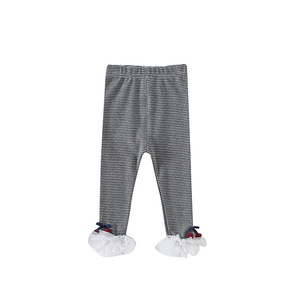 New spring stripe bottoming girls pants cherry lace tight infant pants