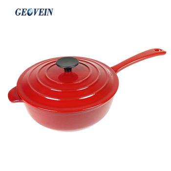 Enameled Cast Iron Deep Covered Skillet With Metal Lid
