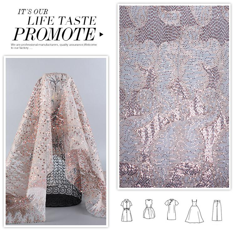 Wholesale fashionable luxury poly embroidery sequin mesh fabric