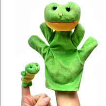 free sample Cute Cartoon Hand Puppet Baby Kid Animal Toys Finger Puppet Plush Cloth Toy plush frog hand puppet