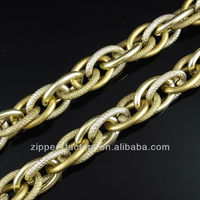 Unique light gold long chains for handbags accessory