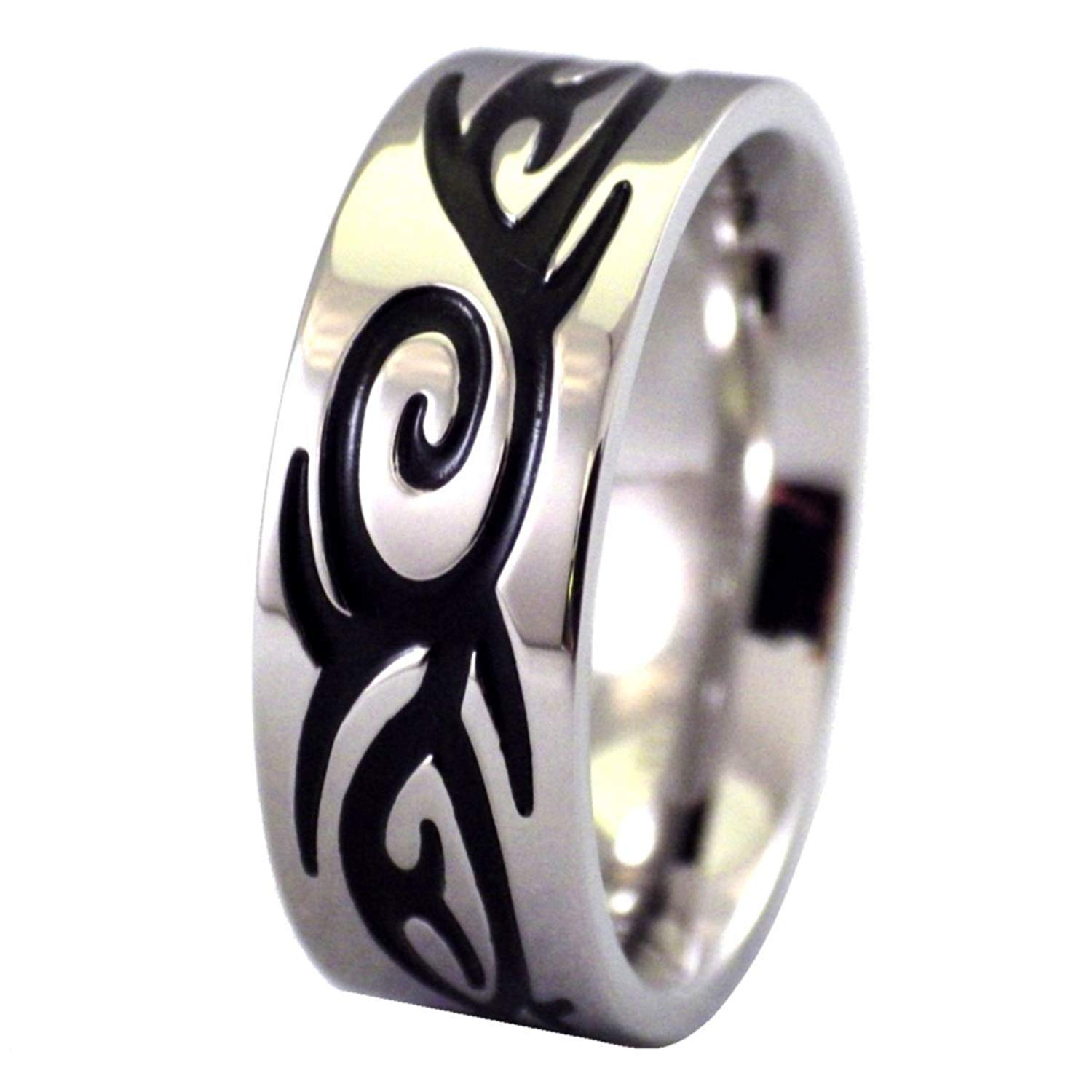 Fantasy Forge Jewelry Mens Engraved Tribal 316L Stainless Steel Ring 8mm Wide Band Size 9.5-13