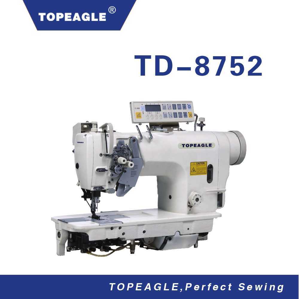 TOPEAGLE TD-8752M 2-needle Split Needle Bar double needle walking foot sewing machine With Automatic Trimmer