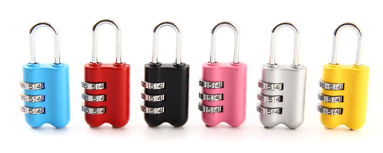 Mini padlock 3 digit colorful combination suitcase luggage security password lock