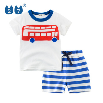 27kids brand hot sale style summer clothing sets outfit for kids boys