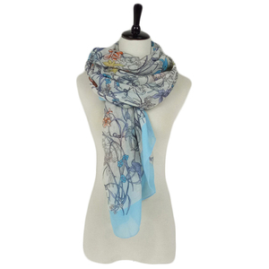 Blue Color Scarf Easy Match Women Fashion Voile Scarf