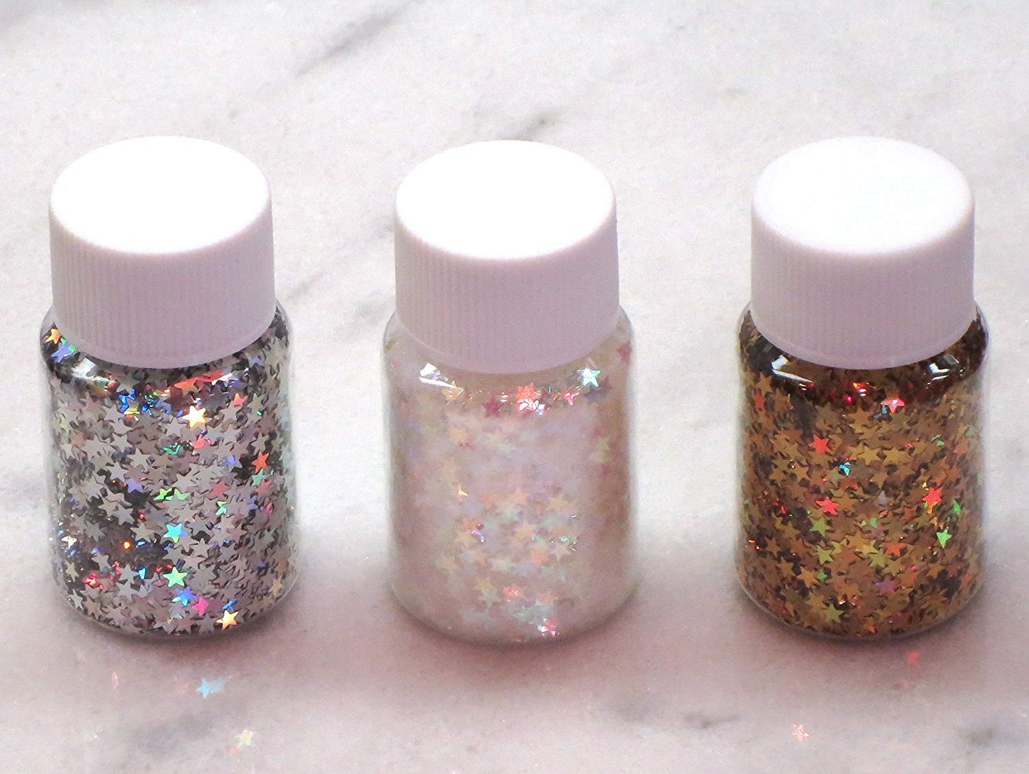 Three Bottles of Star Glitter | Solvent Resistant | Polyester Glitter | Holographic | Silver | Gold | Iridescent | Rainbow | Nail Art | Slime Art | Resin Jewelry | Tumbler | Crafts | Birthday Gift