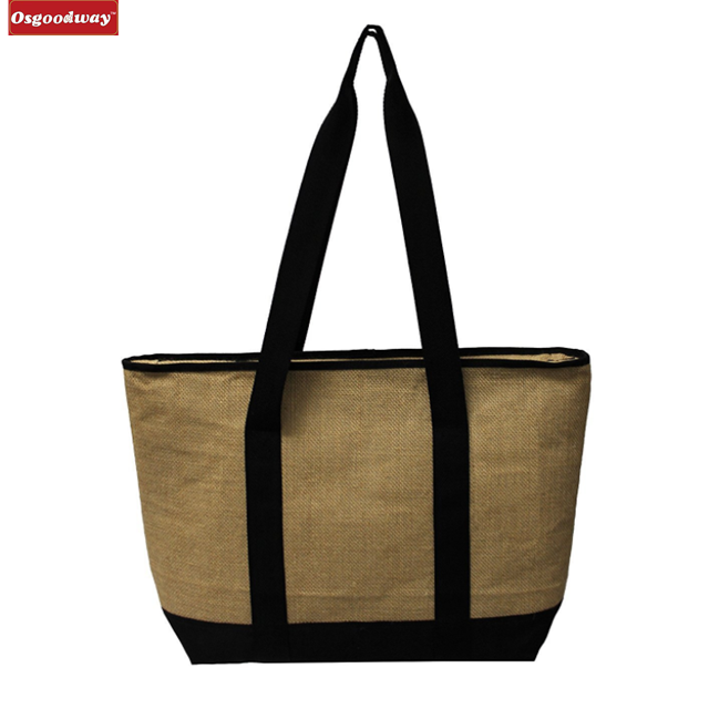 Osgoodway Waterproof Insulated Grocery Bag Jute Shopping Thermal Cooler Tote Bag for Picnic Travel