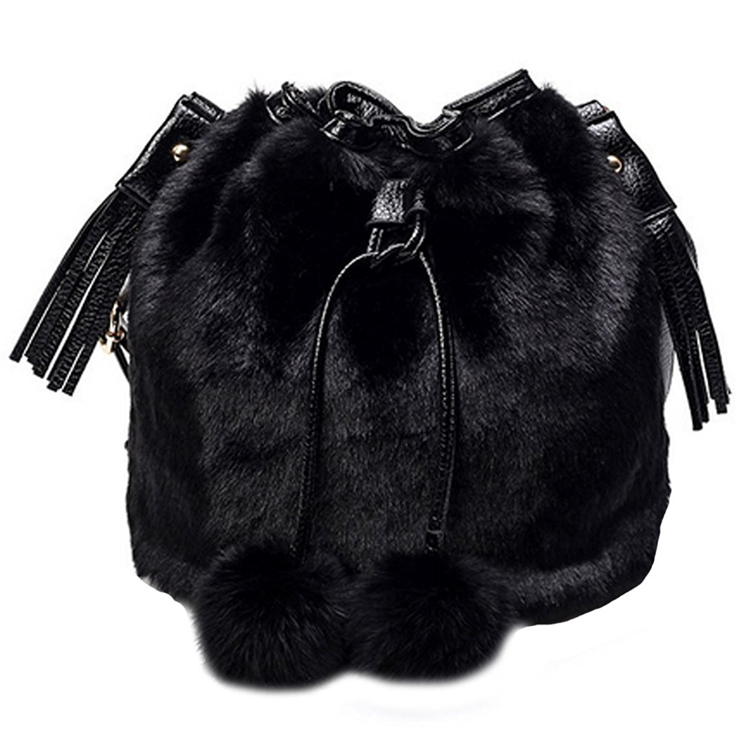 Get Quotations · YAOSEN Women Faux Fur Bucket Bag Plush Drawstring Shoulder  Bag Crossbody Bag with Pompon bfd02e6111064