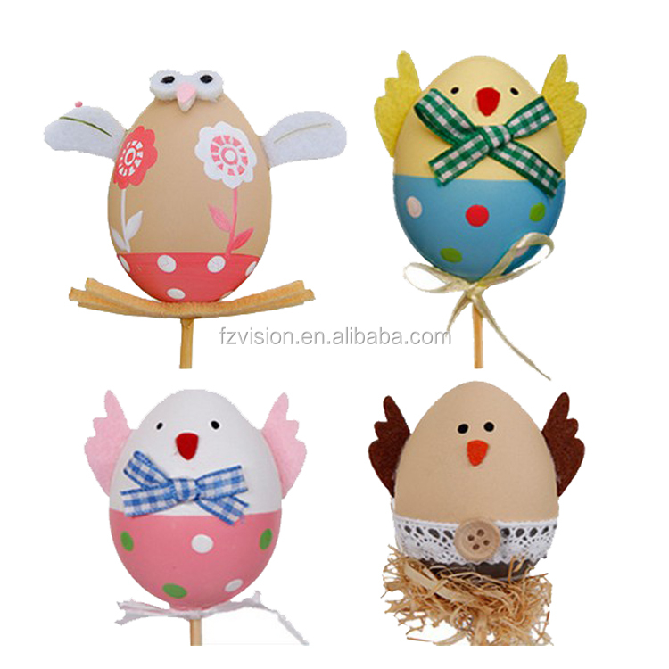 Assorted Chicken Prints Plastic Easter Eggs With Stick