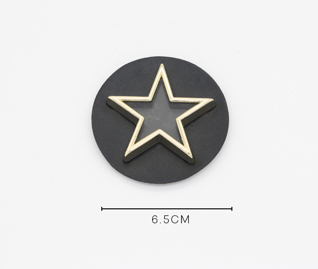 Custom metal star shape logo embossed designer leather patch/labels/tags for clothes