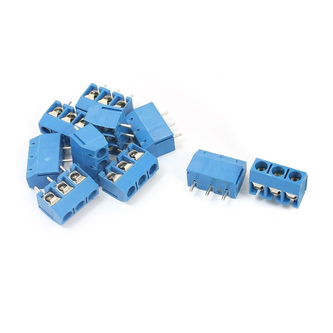 uxcell 10Pcs 5.08mm 3P Pluggable Type Blue Screw Terminal Block 300V 10A