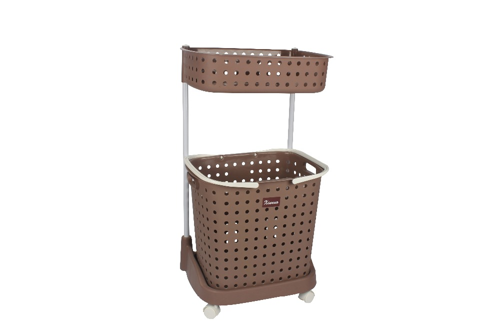 Plastic shopping basket with wheels folding rubber laundry basket with wheels