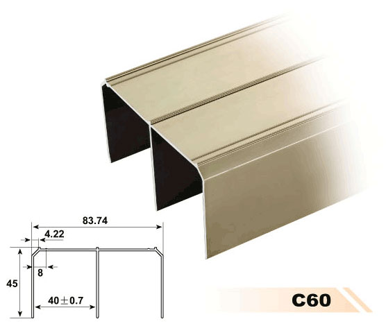 anodized wall cabinet profile aluminum wardrobe hanging rail