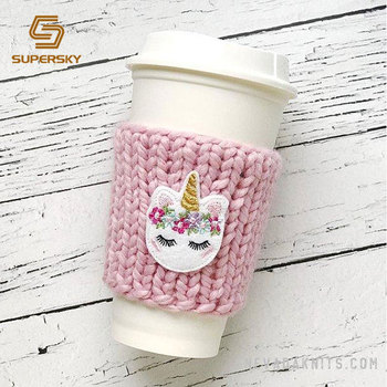 Knit Cup Sleeve Chunky Crochet Coffee Cozy Knitted Hot Water Bottle