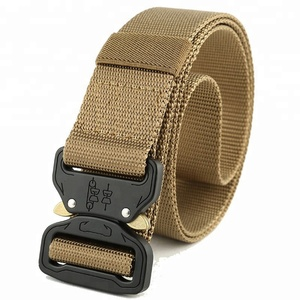 Outdoor Tactical Belt Cobra Buckle Black Woven Fabric Polyester Nylon Army Military Webbing Belts For Hunting Police And Army
