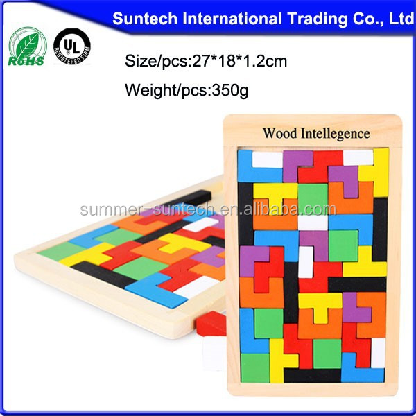 Customized printing HOT puzzle game intelligent wooden tetris puzzle