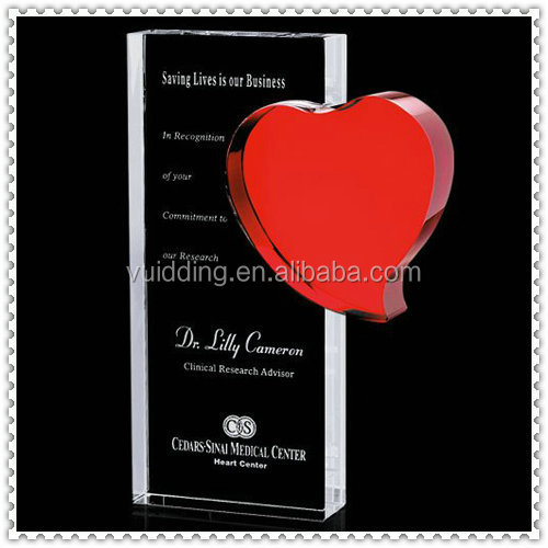 Serious Crystal Red Heart Shape Awards For Business Gift