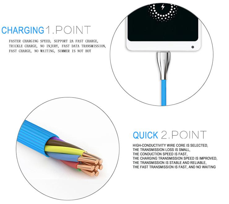 New Type-C USB Car Charger Cable TPE Dây Với Kẽm Kết Thúc Bền 2019 Amazon Bán Chạy Nhất Android USB type-C Cable đối với điện thoại