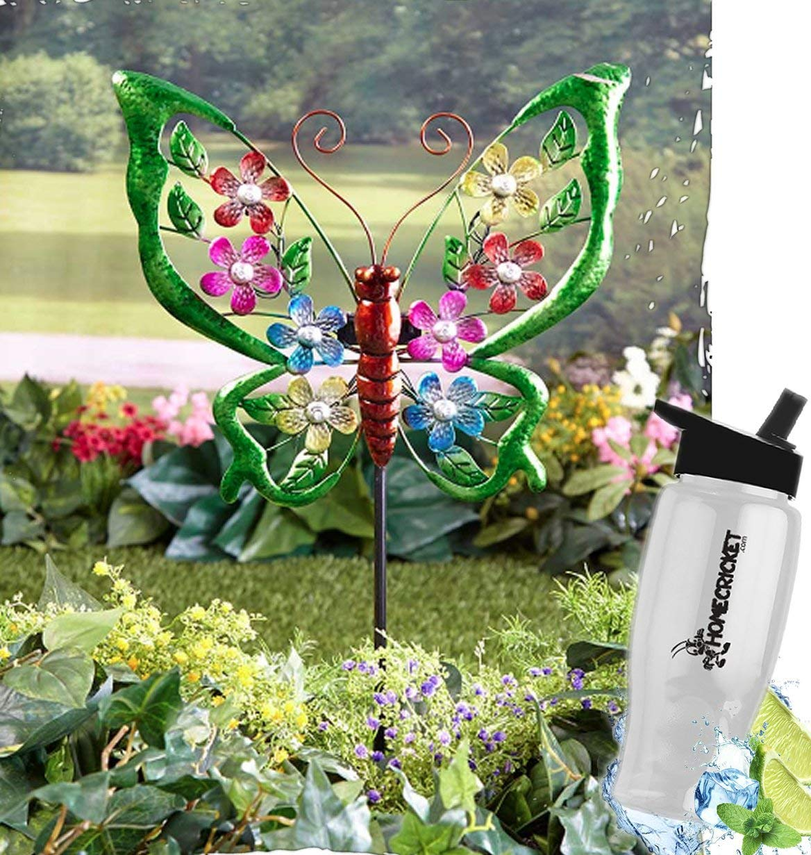 HomeCricket Gift Included- Solar Powered Lights Multicolored Garden Yard Ground Stake Decor Butterfly + FREE Bonus Water Bottle by