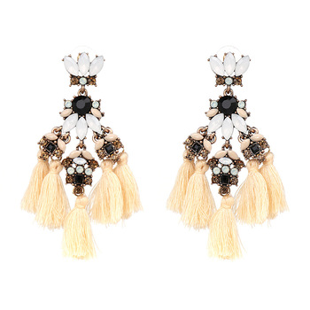 562615a07 Silk Tassel Earrings Long Drop Earrings for Women Wedding Party Jewelry Crystal  Earring Accessories