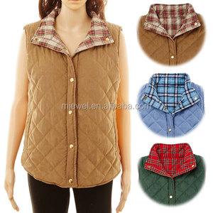 Wholesale Women Sleeveless Blank Reversible Double Wear Quilted Vest