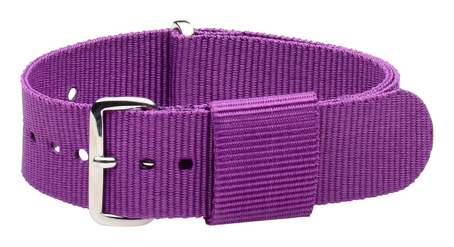 22mm Nato Ss Nylon Loop Solid Purple Interchangeable Replacement Watch Strap Band