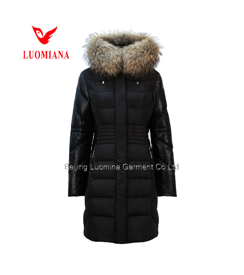 2016 PU contrast Shiny Down Jacket with Hood 90% ,Real Fur Winter Jacket