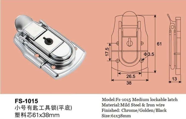 FS-1015 Best selling product Chinese Supplier Metal case latch locks with key for tool box