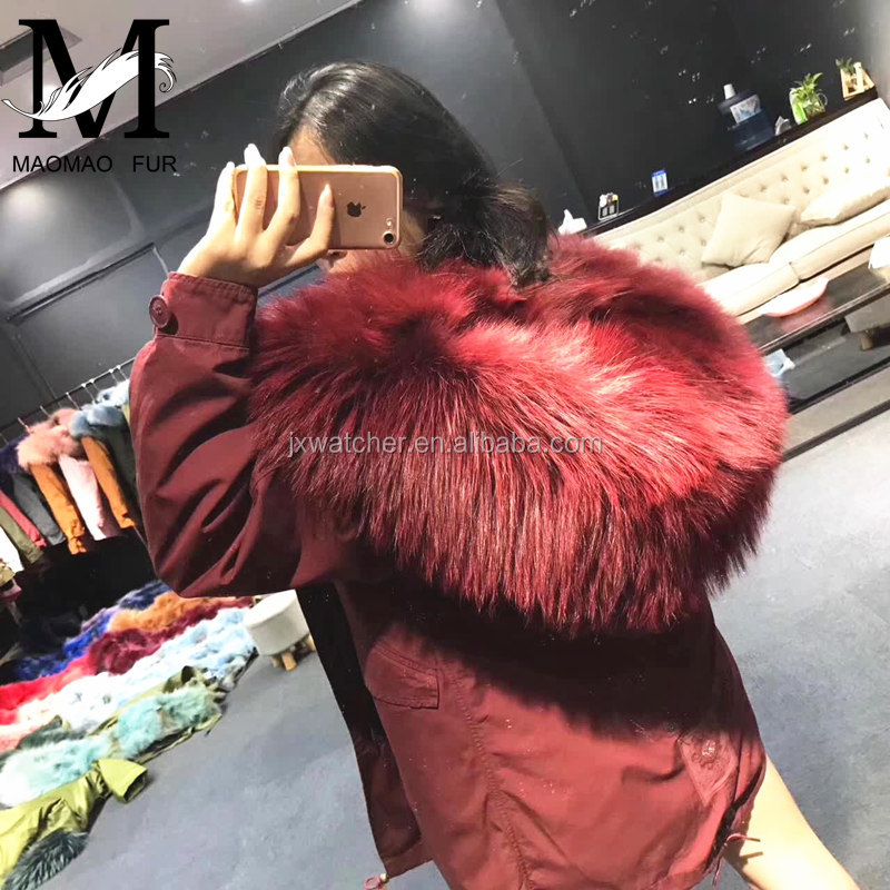 2016 Hot Sale Wholesale Cotton Winter Coat Large Raccoon Fur Hooded Real Wolf Fur Lining Parka for Women