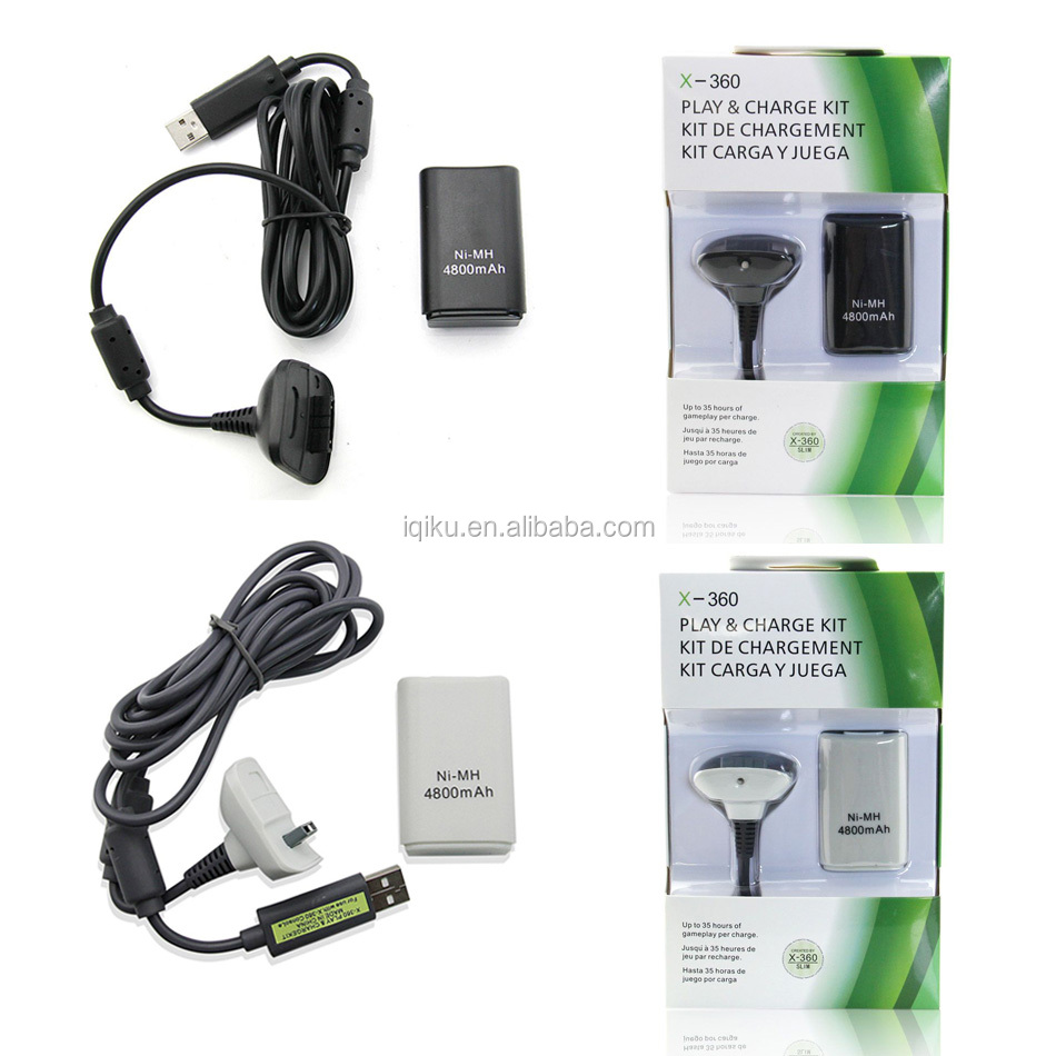 China Factory 4800mah Rechargeable Battery Pack Kit +Charging Charger Cable For Xbox 360 Battery Wireless Controller Charge Kit