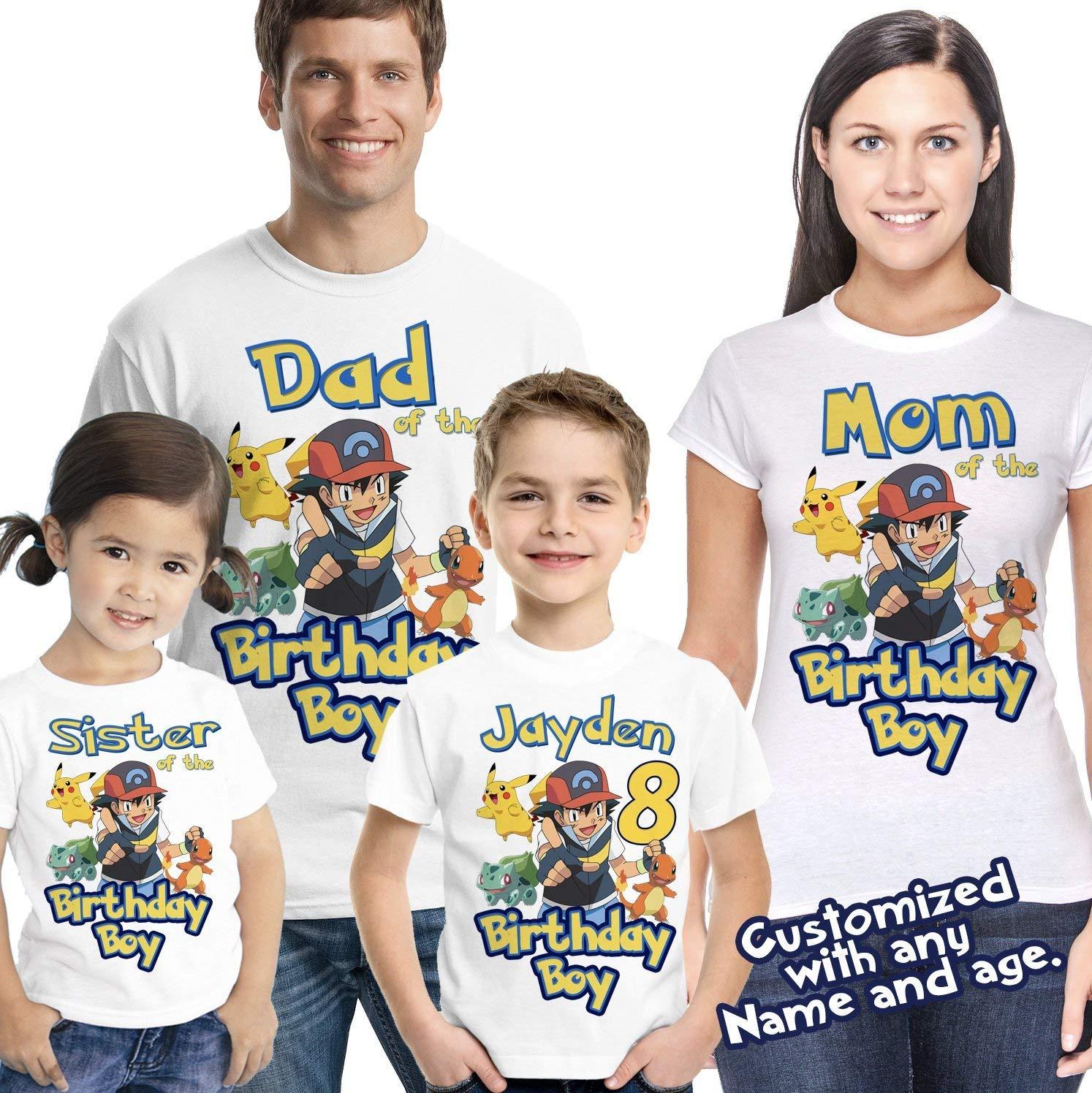 c670ee4a Get Quotations · Pokemon Birthday Shirt Add Name & Age Pokemon GO Mystic  Custom Birthday Party TShirt