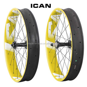 Yellow Painting ICAN FW90 Fat Bike Wheels 90mm Carbon Wheelset