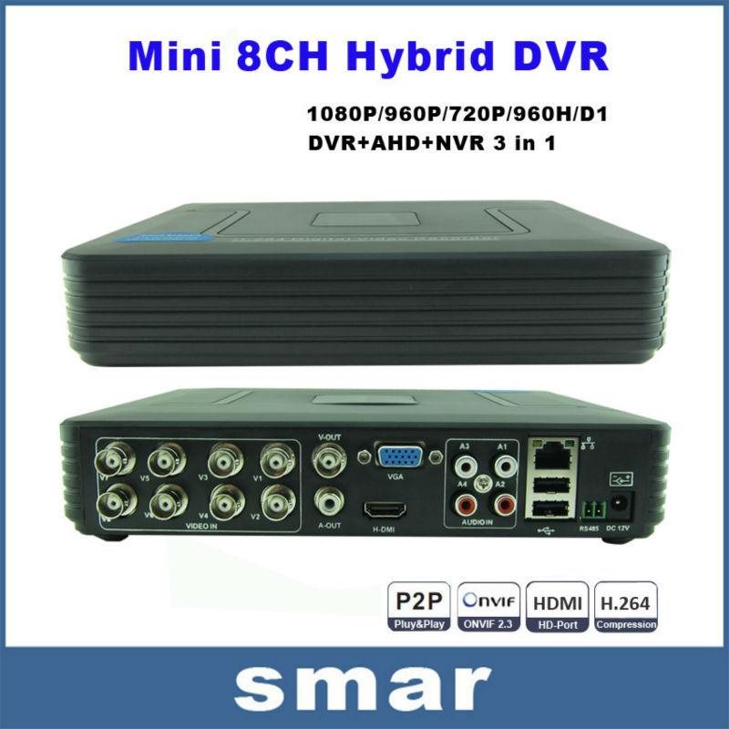 Mini 8CH Full D1 H.264 HDMI Security System CCTV DVR 8 Channel 720P 1080P NVR Hybrid DVR Recorder Mobile DVR RS485 PTZ Hot