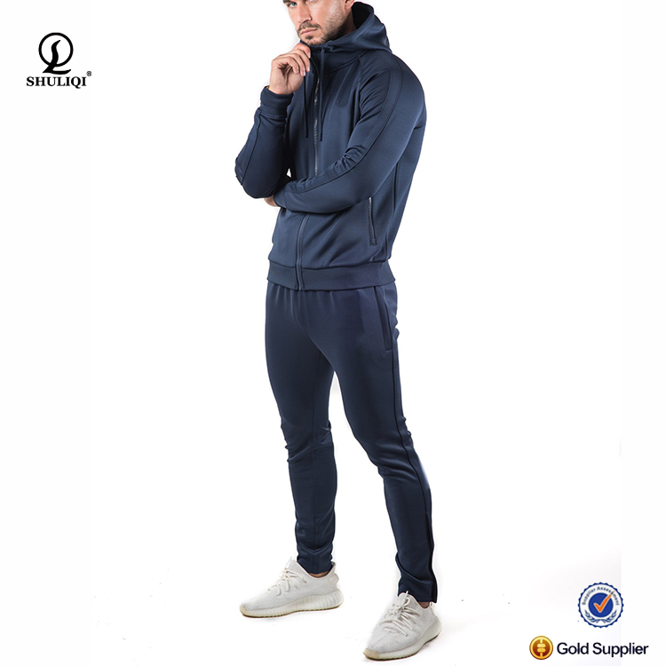 Custom All Polyester Men 95polyester 5spendex Slim Fit Mens Tracksuit Custom Men Bulk Wholesale Gym Tracksuit