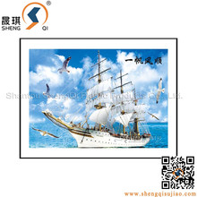 Promotion Sailing Ship Paintings for Blessing with 3D Picture,high quality 3d Ship picture
