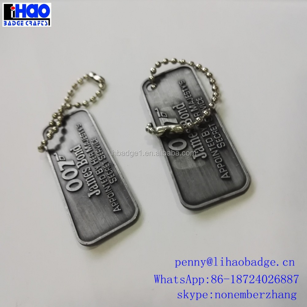embossed metal tags, metal hang tag with ballchain, aluminum tag