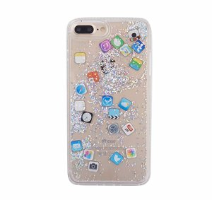 IOS App Icon Glitter Quicksand Liquid Phone Case For iPhone X XS MAX XR 8 7 6 6S Plus Back Cover
