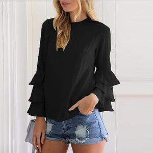 2019 Autumn Elegant Women Blouses Shirts Ladies O-Neck Flounce Long Sleeve Solid Blusas Casual Loose Tops plus size blouses