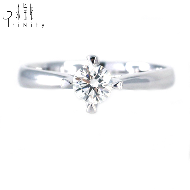 Fine Classic 18K White Gold Unique Single Stone One Large Simple Diamond Solitaire Prong Setting Engagement Ring фото