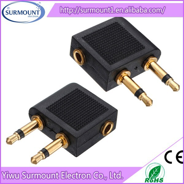 3.5mm to 2 x 3.5mm Airplane Headphone Earphone Audio Adapter Converter Connector Airline Jack airplane audio adapter