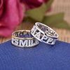 China copper jewelry wholesale custom words HAPPY micro pave silver cz ring for girls