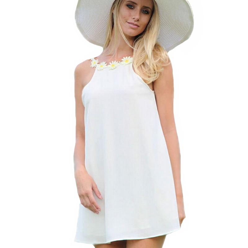Women Sunflower Dress 2015 Summer Appliques Preppy Style Short flowery Cute  Sundress Girls All White Beach Chiffon Dress