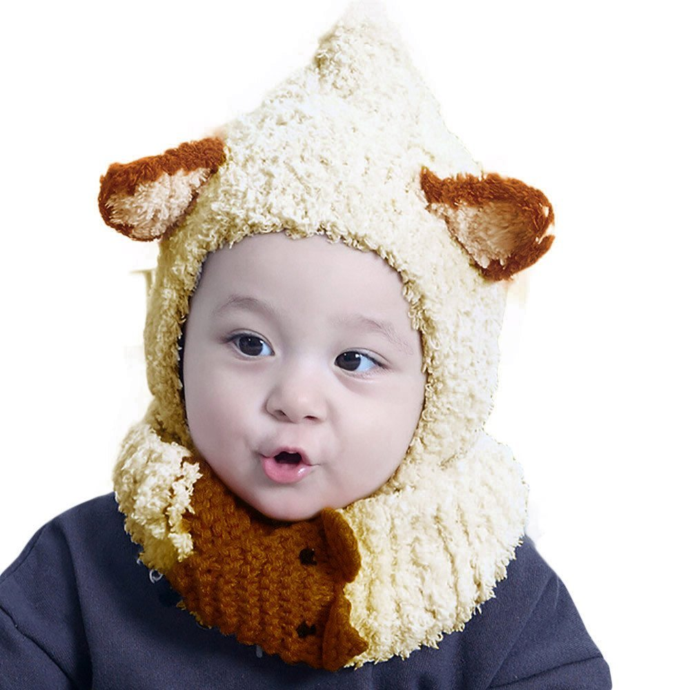 5f3463eca85 Suma-ma Cute Winter Warm Coral Velvet Hood Scarf Caps Hats Set for Baby Kids